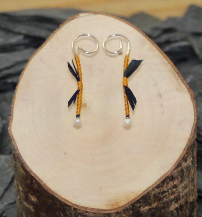 Yellow/black dragon earrings