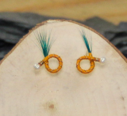 Sunflower orange pine green feather round nymph earring