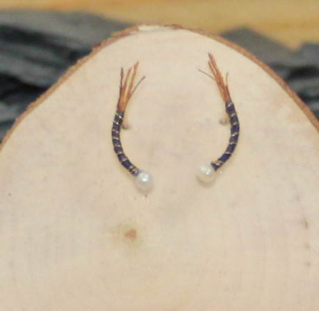 Off black  light brown feather nymph earrings