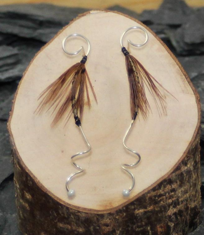 Brown orchid earrings