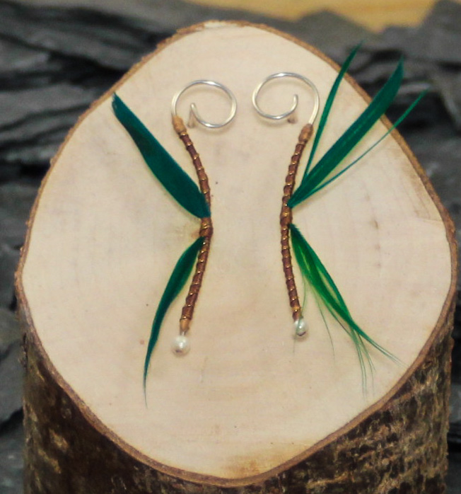 Brown/Green dragon earrings