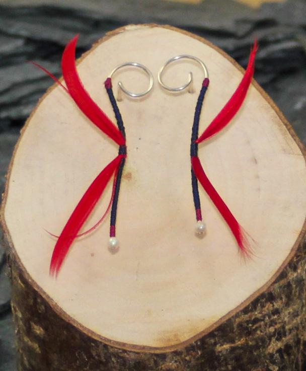 Black/Red dragon earrings