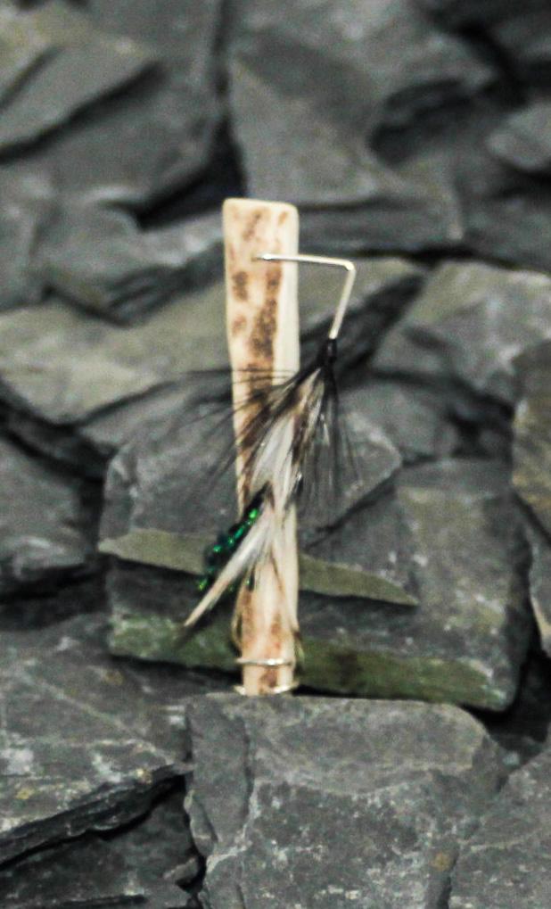 Handmade brooch brown body light and dark brown wings, peacock tail