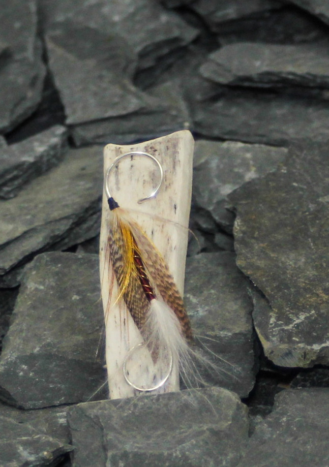 Burgundy body gold, brown wings  and antler brooch