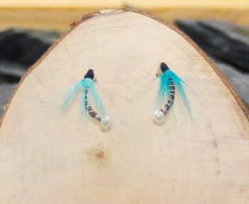Burgundy nymph with turquoise hackle nymphs