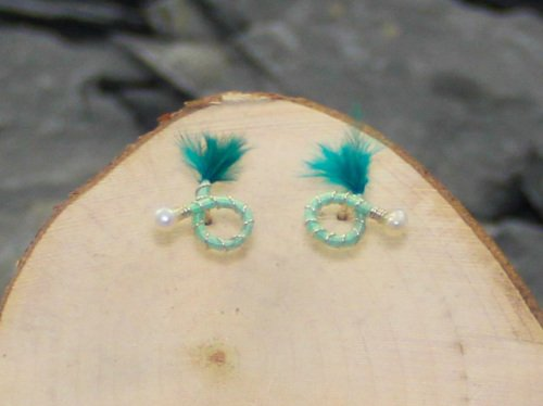 Lime green round earrings turquoise green feather nymph earrings