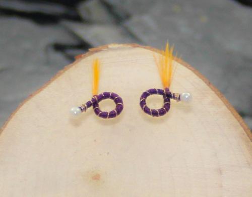 Dark purple round earrings yellow feather a nymph earrings
