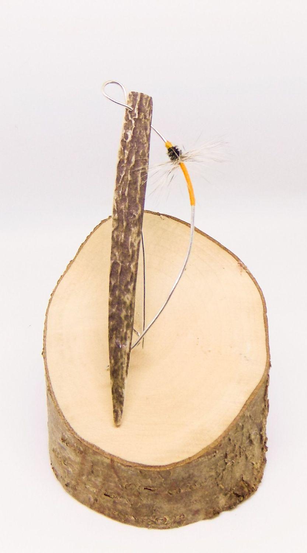 Orange fly brooch with antler