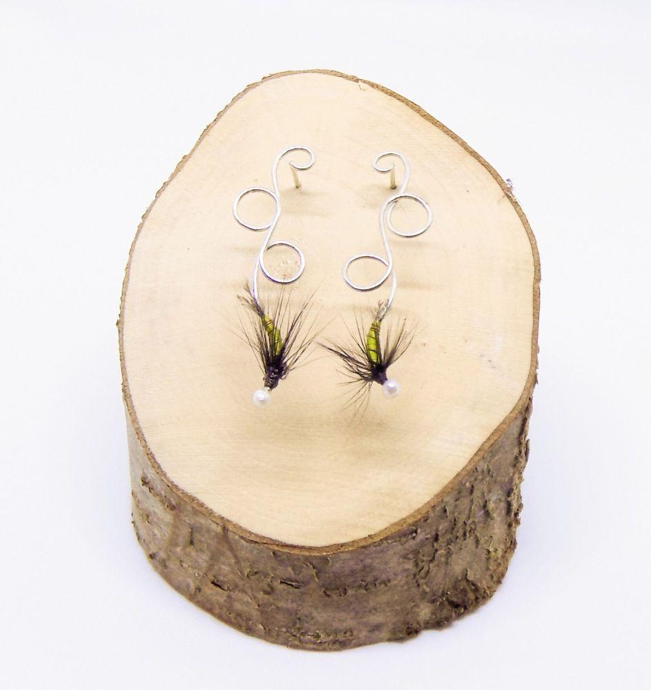 Olive green fly fishing earrings
