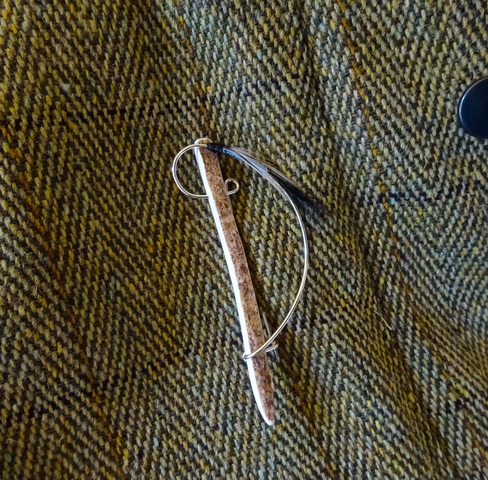 Handmade light blue body fly brooch