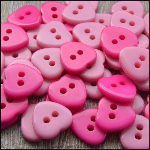 11mm Pink Resin Heart Shaped Buttons