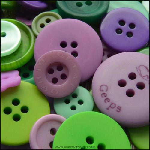Purple and Green Craft  Buttons - Pack of 50