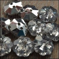 13mm Acrylic Flower Buttons With Silver Plated Back