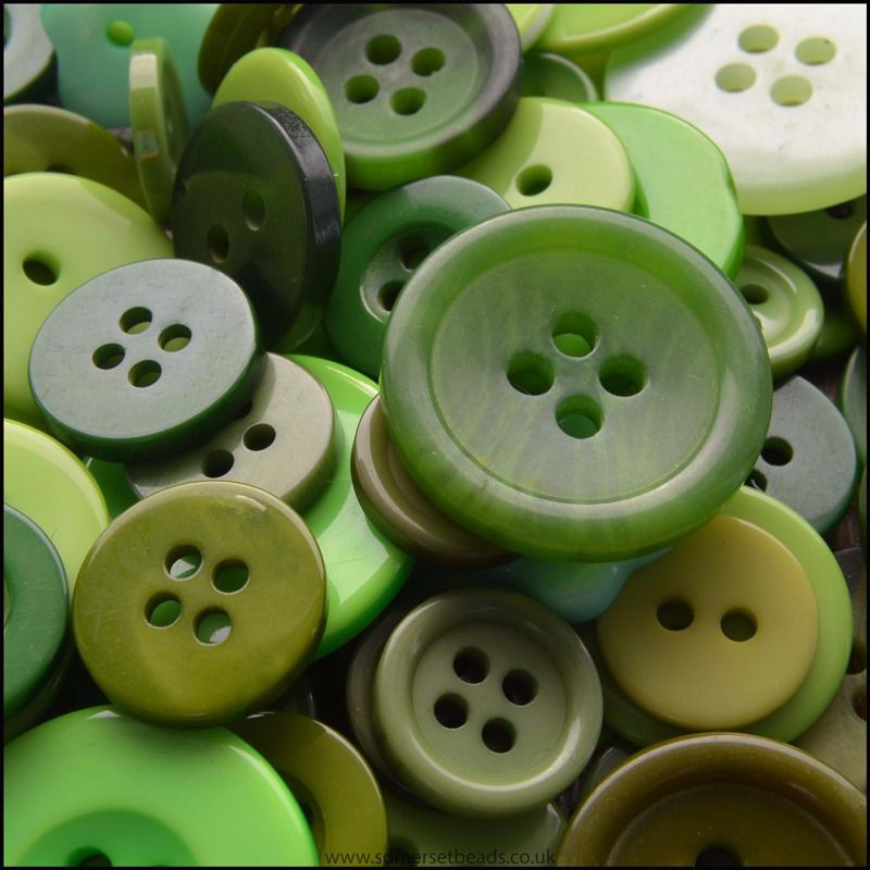 35g Mixed Green Buttons