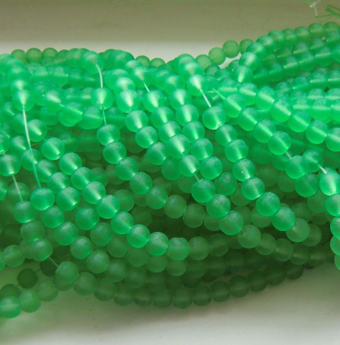 6mm Green Frosted Glass Beads