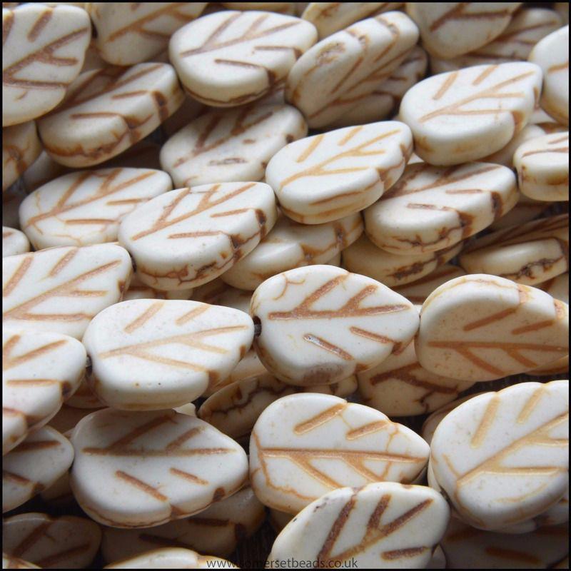 Ivory Howlite Leaf Beads 13mm x 9mm
