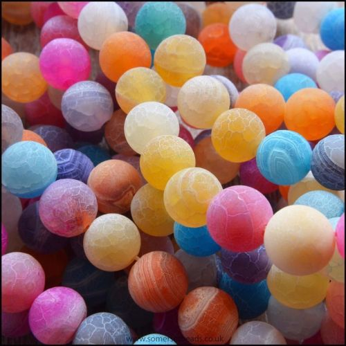 8mm Multi Coloured Dyed Frosted Agate Plain Round Beads