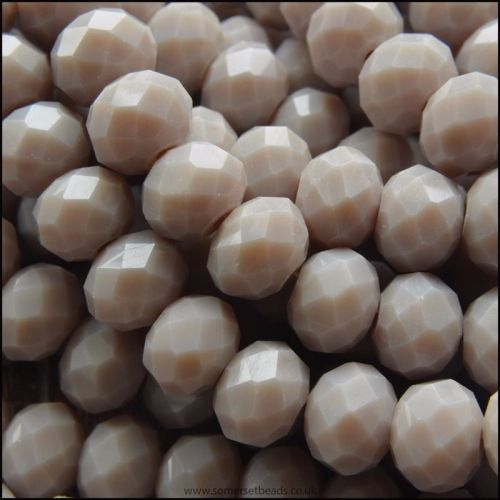Opaque Faceted Glass Crystal Rondelle Beads Milky Grey 8mm x 6mm