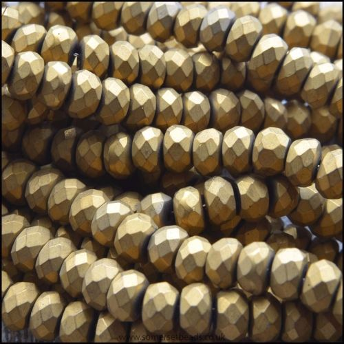 Electroplated Faceted Bronze Matte Hematite Rondelle Beads 4x3mm