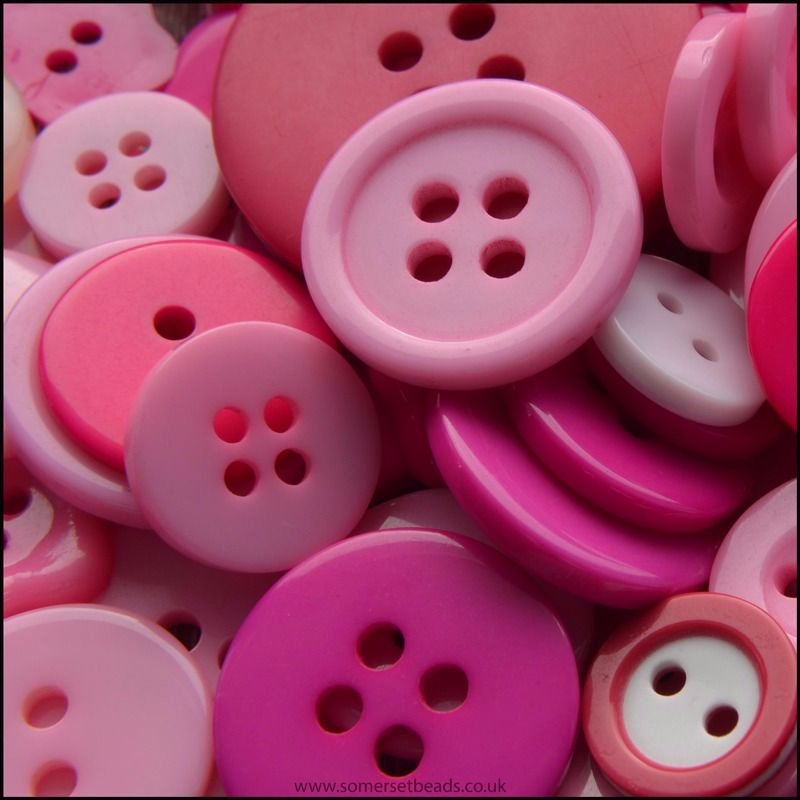 35g Mixed Pink Buttons