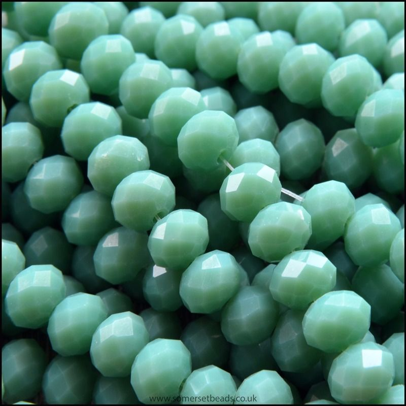 Opaque Faceted Glass Crystal Rondelle Beads Sea Foam 6mm x 4mm