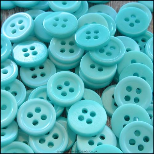 11mm Aqua 4 Hole Resin Buttons