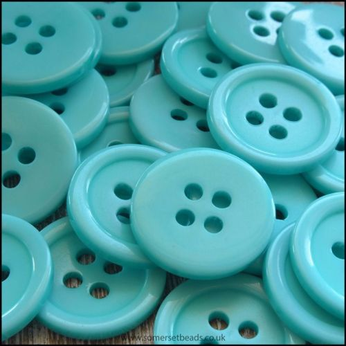 18mm Aqua Resin Buttons