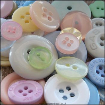 Mixed Pastel Buttons - Pack of 50
