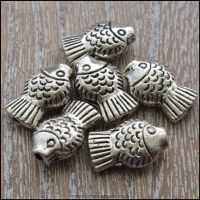 Silver Metal Fish Shaped Beads