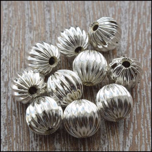 8mm Silver Corrugated Hollow Beads