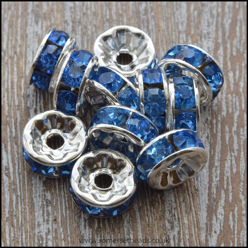 8mm Blue Rhinestone Rondelle Spacer Beads
