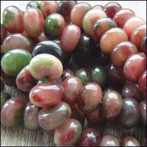 Dyed Tourmaline  Rondelle Beads 6x10mm 16in Strand