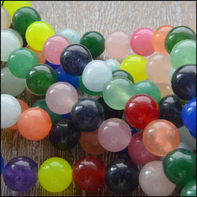 8mm Multi Coloured Jade