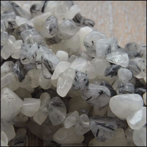 Black Grey Rutile Quartz Chip Beads