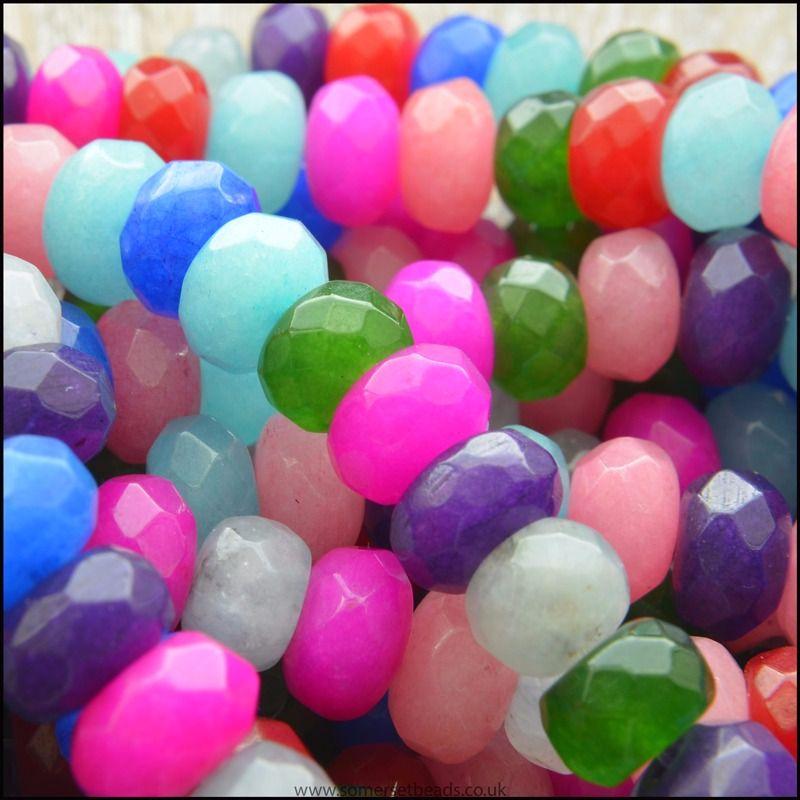 Multi Coloured Dyed Jade Gemstone Rondelle Beads