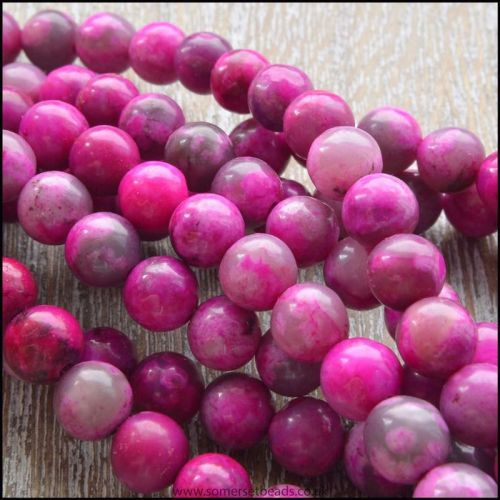 Dyed Pink 6mm Jasper Semi Precious Plain Round Beads
