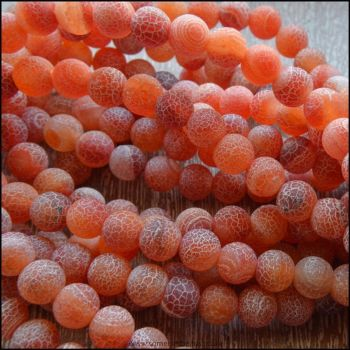 6mm Amber Frosted Agate Plain Round Semi Precious Beads
