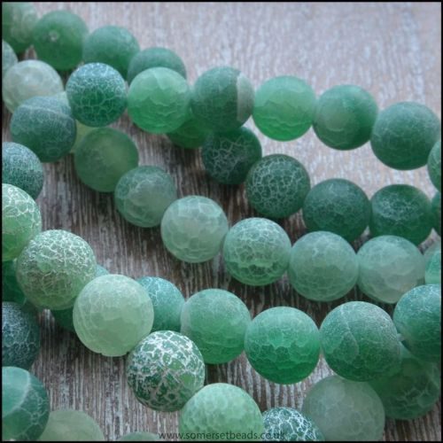 6mm Dyed Green Frosted Agate Plain Round Beads