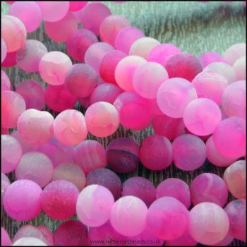 6mm Dyed Pink Frosted Agate Plain Round Beads
