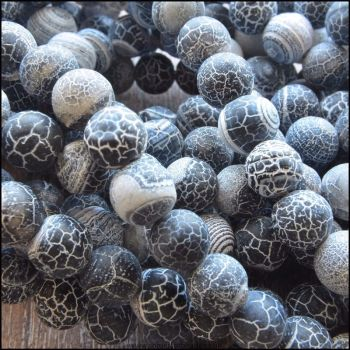 8mm Dyed Black Frosted Agate Plain Round Beads