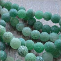 8mm Dyed Green Frosted Agate Plain Round Beads
