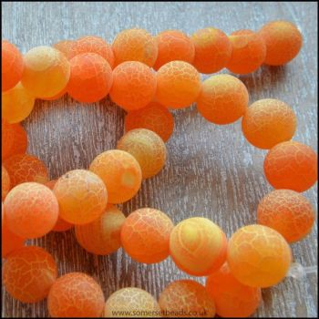 6mm Dyed Orange Frosted Agate Plain Round Beads