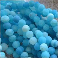 6mm Dyed Blue Frosted Agate Plain Round Beads