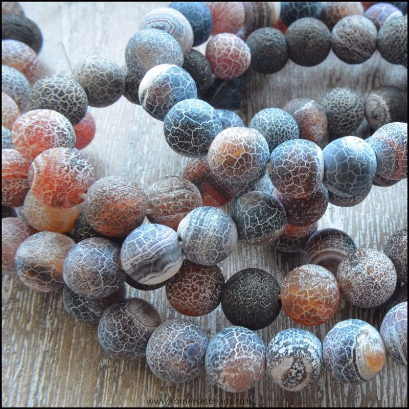 8mm Dyed Black And Amber Frosted Agate Plain Round Beads