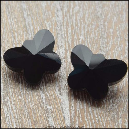 Black Faceted Glass Butterfly Beads