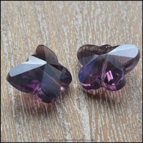 Purple Faceted Butterfly Beads