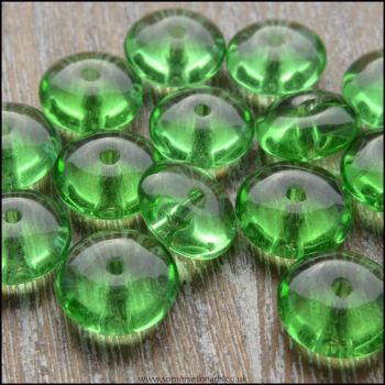 10mm Green Glass Rondelle Beads