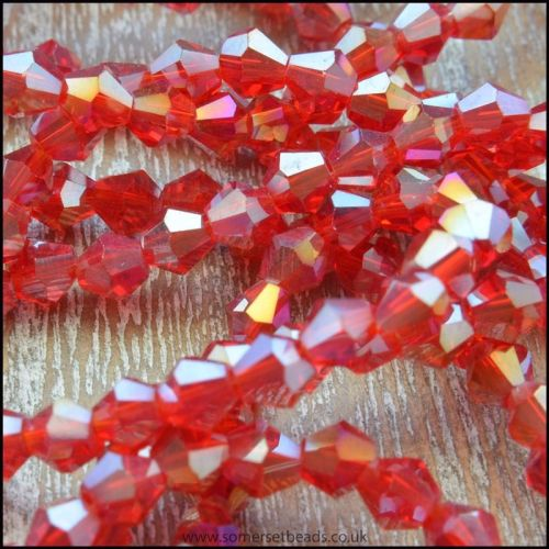 4mm Faceted Glass Bicone Shaped Beads - Red AB