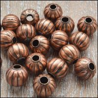 8mm Copper Pumpkin Spacer Beads