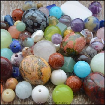 100g Mixed Gemstone Bead Soup